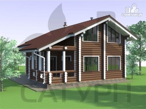 Фото 6: проект дом из дерева с террасой и балконом