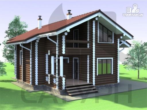 Фото 5: проект дом из дерева с террасой и балконом