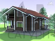 Проект дом из дерева с террасой и балконом