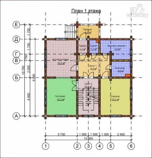 Фото 2: проект деревянный дом 9х10 с крыльцом