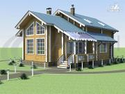 Проект деревянный дом с верандой и светлой гостиной