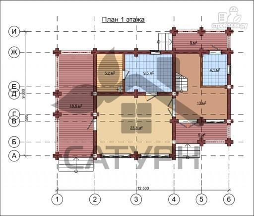 Фото 2: проект дом из дерева в полтора этажа