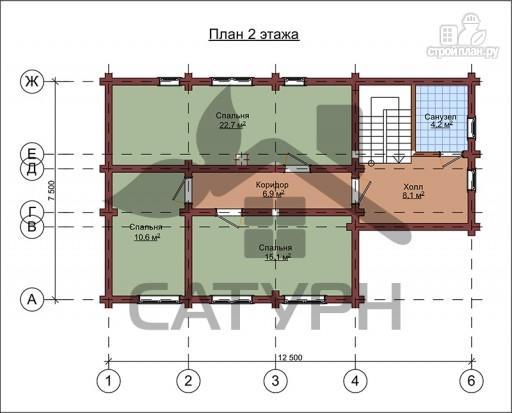 Фото 3: проект дом из дерева в полтора этажа