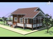 Фото: деревянный дом с мансардой и большой террасой