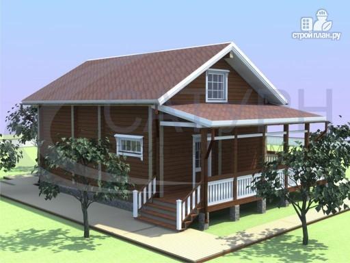 Фото 4: проект деревянный дом с мансардой и большой террасой