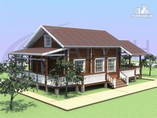 Фото 6: проект деревянный дом с мансардой и большой террасой