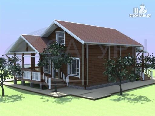 Фото 5: проект деревянный дом с мансардой и большой террасой