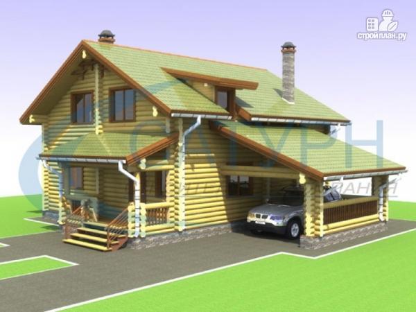 Фото: проект дом деревянный с навесом для машины