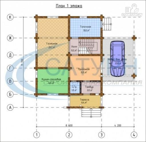 Фото 2: проект дом деревянный с навесом для машины
