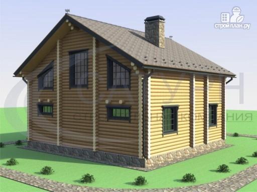 Фото 6: проект деревянный дом с двухсветной гостиной и большим крыльцом
