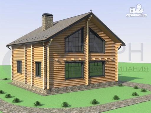 Фото 4: проект деревянный дом с двухсветной гостиной и большим крыльцом