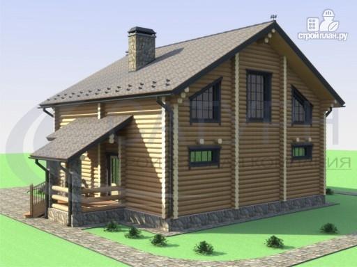 Фото 5: проект деревянный дом с двухсветной гостиной и большим крыльцом
