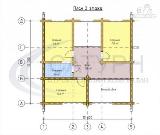 Фото 3: проект деревянный дом с двухсветной гостиной и большим крыльцом