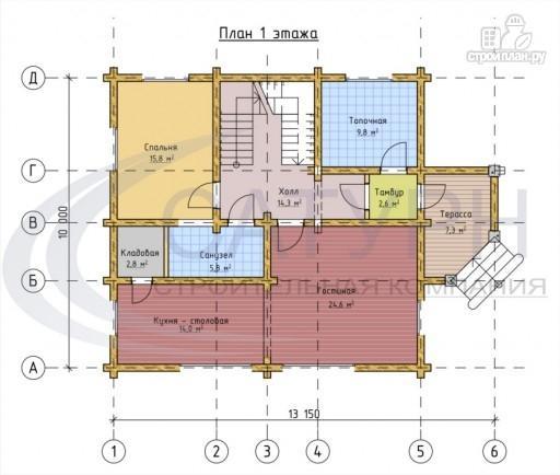 Фото 2: проект деревянный дом с двухсветной гостиной и большим крыльцом