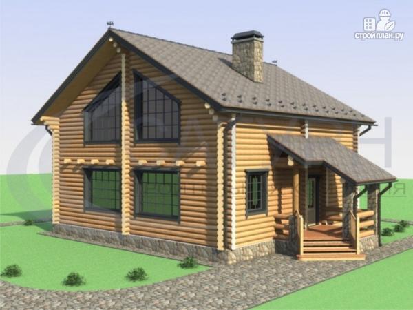Фото: проект деревянный дом с двухсветной гостиной и большим крыльцом