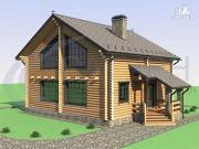 Фото: деревянный дом с двухсветной гостиной и большим крыльцом