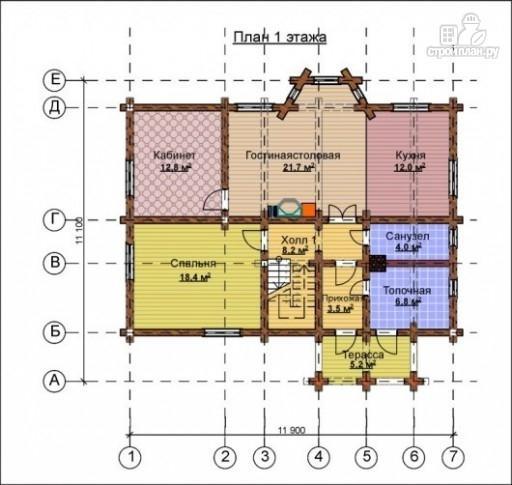 Фото 2: проект деревянный дом с эркером и крыльцом