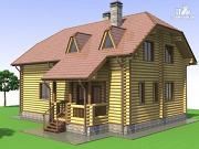 Проект деревянный дом с эркером и крыльцом