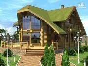 Проект современный деревянный дом с большой террасой и вторым светом в гостинной