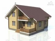 Проект деревянный дом с сауной, балконом и террасой