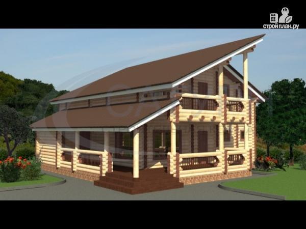 Фото: проект современный деревянный дом с балконом и угловой террасой