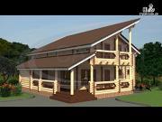 Фото: современный деревянный дом с балконом и угловой террасой