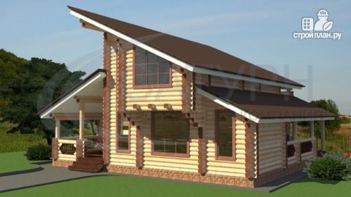 Фото 6: проект современный деревянный дом с балконом и угловой террасой