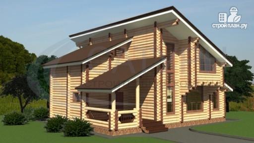 Фото 4: проект современный деревянный дом с балконом и угловой террасой