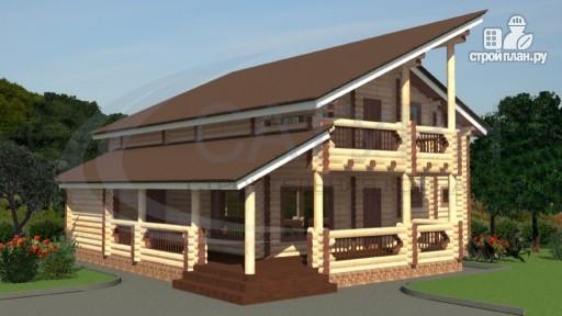 Фото 5: проект современный деревянный дом с балконом и угловой террасой