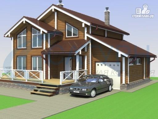 Фото 6: проект деревянный дом с гаражом и террасой