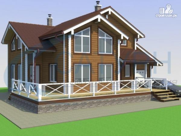 Фото: проект деревянный дом с гаражом и террасой