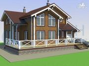 Фото: деревянный дом с гаражом и террасой