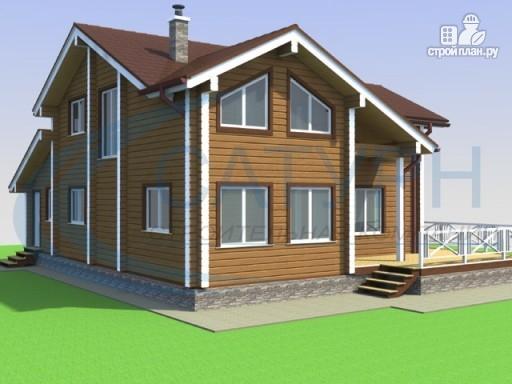 Фото 4: проект деревянный дом с гаражом и террасой