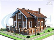 Проект дом деревянный с большой террасой