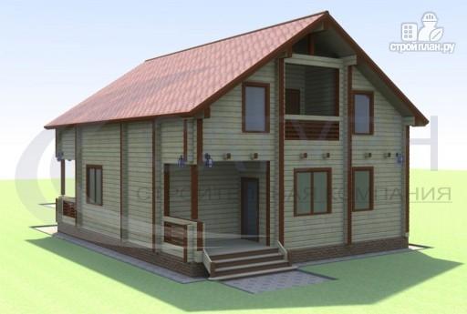 Фото 4: проект деревянный дом с террасой и балконом