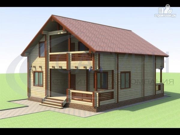 Фото: проект деревянный дом с террасой и балконом