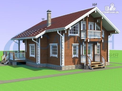 Фото 5: проект дом из дерева с балконом и террасой