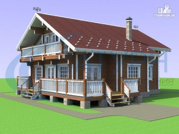 Фото: проект дом из дерева с балконом и террасой