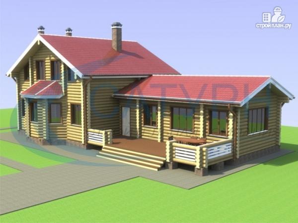 Фото: проект деревянный дом с сауной и террасой