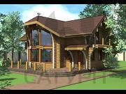 Проект современный дом из дерева с балконом, террасой и вторым светом в гостинной