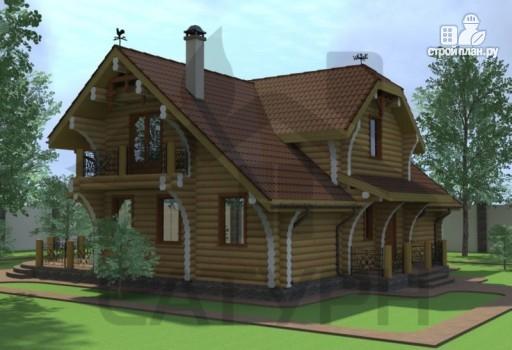 Фото 6: проект современный дом из дерева с балконом, террасой и вторым светом в гостинной