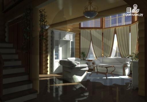 Фото 8: проект современный дом из дерева с балконом, террасой и вторым светом в гостинной