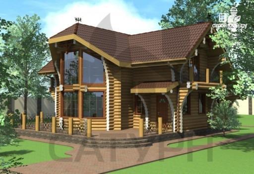 Фото 4: проект современный дом из дерева с балконом, террасой и вторым светом в гостинной