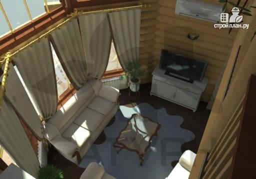 Фото 9: проект современный дом из дерева с балконом, террасой и вторым светом в гостинной