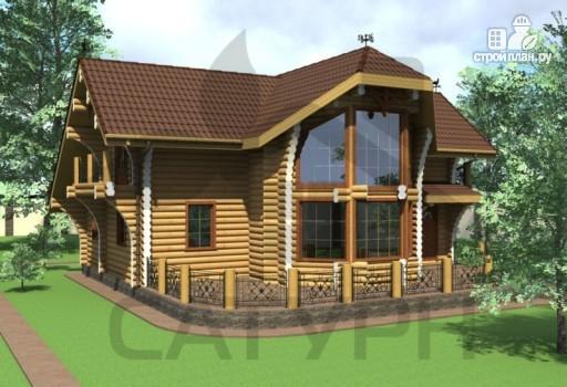 Фото 7: проект современный дом из дерева с балконом, террасой и вторым светом в гостинной