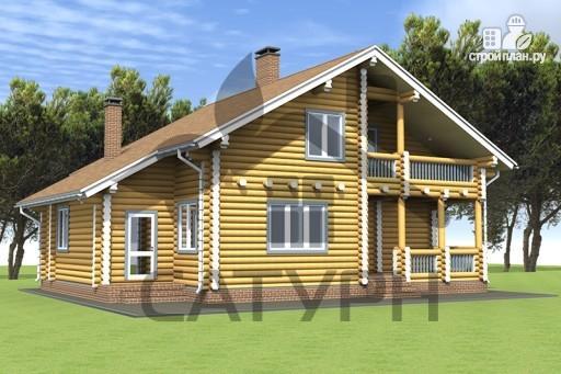Фото 4: проект дом из дерева с балконом и террасой