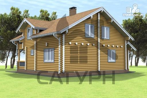 Фото 6: проект дом из дерева с балконом и террасой