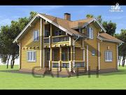 Фото: дом из дерева с балконом и террасой