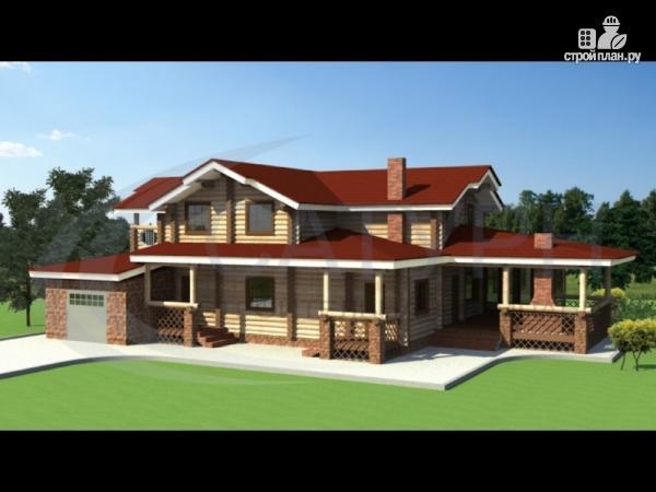 Фото: проект деревянный дом с зимним садом и террасой-барбекю