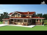 Проект деревянный дом с зимним садом и террасой-барбекю